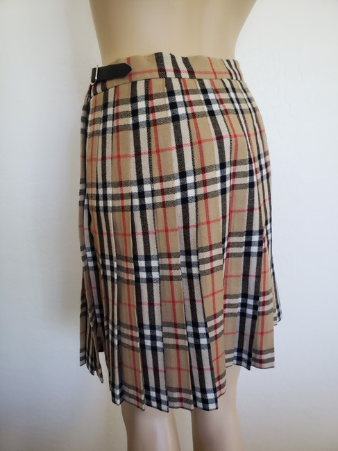 Burberry Belted Gold Hardware Nova Check Plaid House Check Skirt Beige Image 2