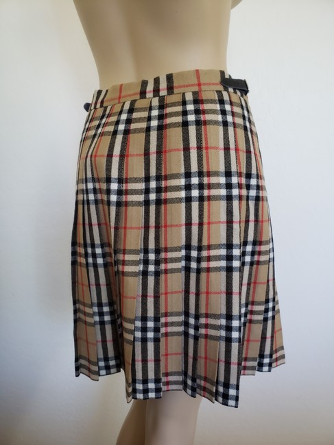 Burberry Belted Gold Hardware Nova Check Plaid House Check Skirt Beige Image 3