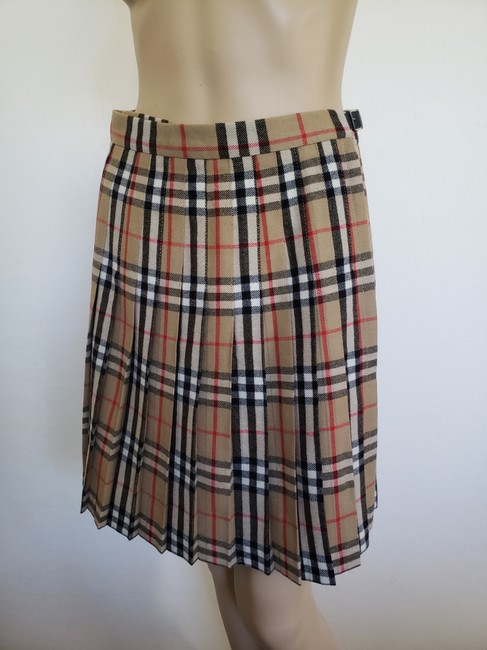 Burberry Belted Gold Hardware Nova Check Plaid House Check Skirt Beige Image 4