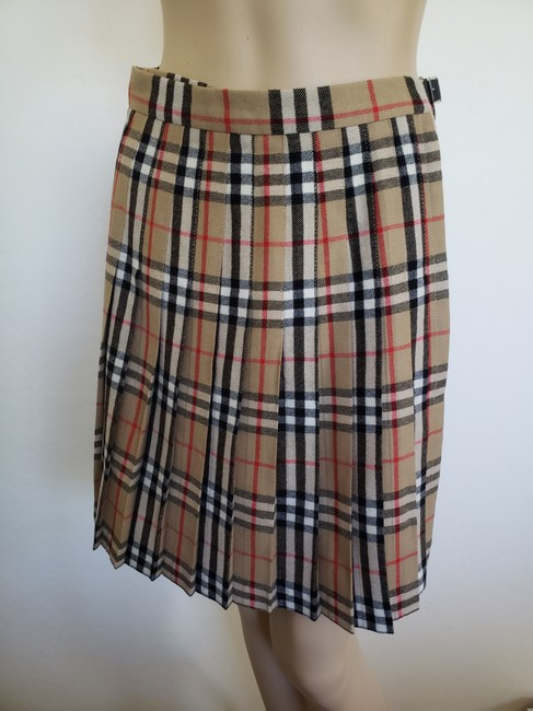 Burberry Belted Gold Hardware Nova Check Plaid House Check Skirt Beige Image 5