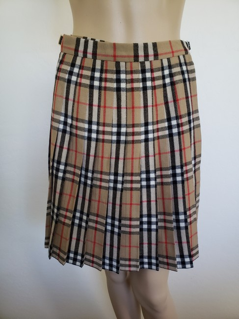 Burberry Belted Gold Hardware Nova Check Plaid House Check Skirt Beige Image 6