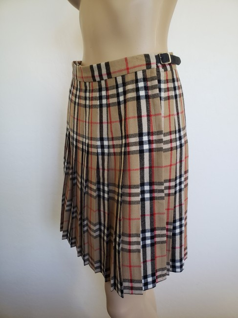 Burberry Belted Gold Hardware Nova Check Plaid House Check Skirt Beige Image 7
