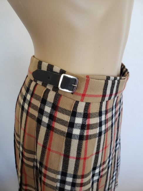 Burberry Belted Gold Hardware Nova Check Plaid House Check Skirt Beige Image 9