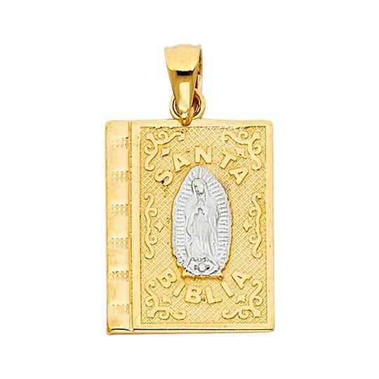 Top Gold & Diamond Jewelry 14k Two Tone Baptism Pendant with 1.5mm Flat Open Wheat Chain - 18