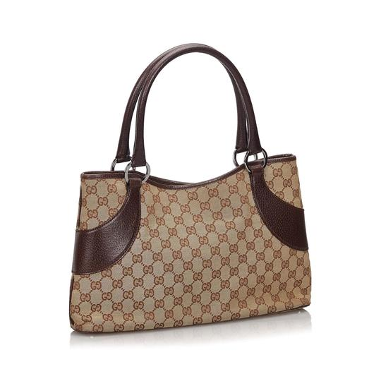 Gucci 9hguto054 Vintage Canvas Leather Tote in Brown Image 1