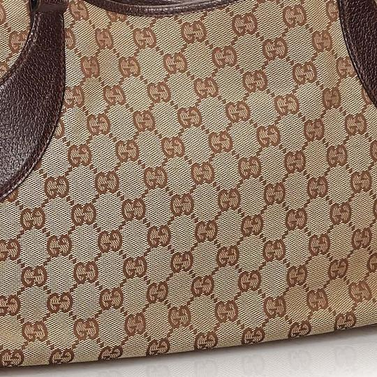 Gucci 9hguto054 Vintage Canvas Leather Tote in Brown Image 11