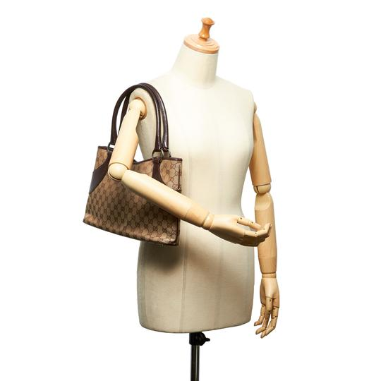 Gucci 9hguto054 Vintage Canvas Leather Tote in Brown Image 8
