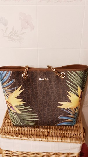 Calvin Klein Tote in palm tree pattern Image 1