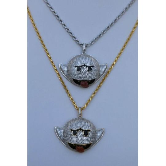 Harlembling Harlembling 925 Silver Flying Ghost Emoji Iced Out Diamond Rope Chain Image 3