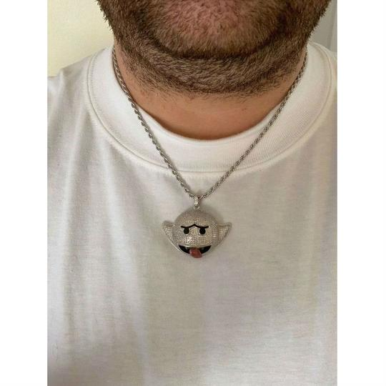 Harlembling Harlembling 925 Silver Flying Ghost Emoji Iced Out Diamond Rope Chain Image 4