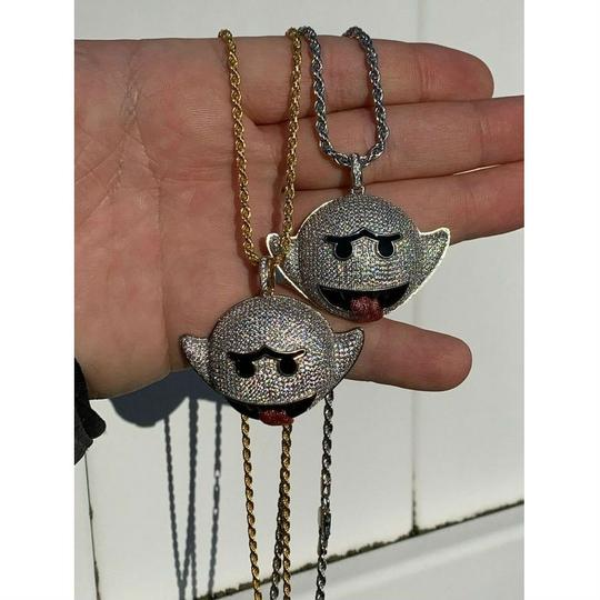 Harlembling Harlembling 925 Silver Flying Ghost Emoji Iced Out Diamond Rope Chain Image 6