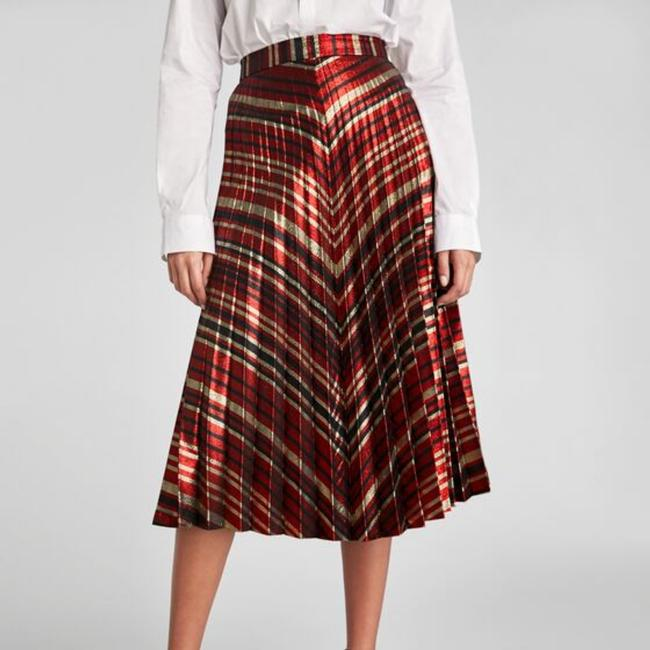 Zara Skirt Red Gold Black Image 6