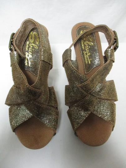 Sbicca Leather Wood Sandals brown & gold Platforms Image 10