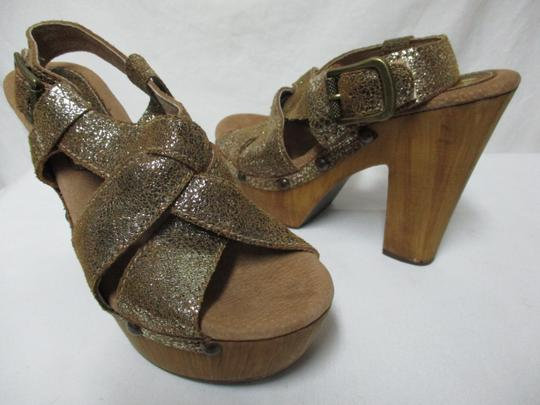 Sbicca Leather Wood Sandals brown & gold Platforms Image 7