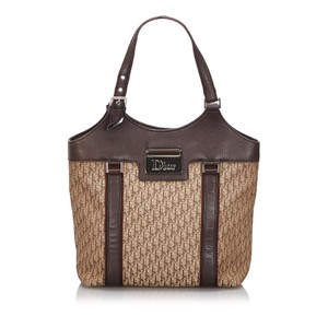 Dior 9hdrto003 Vintage Canvas Leather Tote in Brown