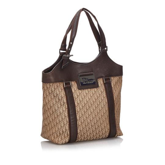 Dior 9hdrto003 Vintage Canvas Leather Tote in Brown Image 1