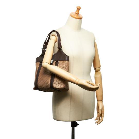 Dior 9hdrto003 Vintage Canvas Leather Tote in Brown Image 8