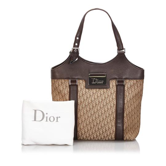 Dior 9hdrto003 Vintage Canvas Leather Tote in Brown Image 9
