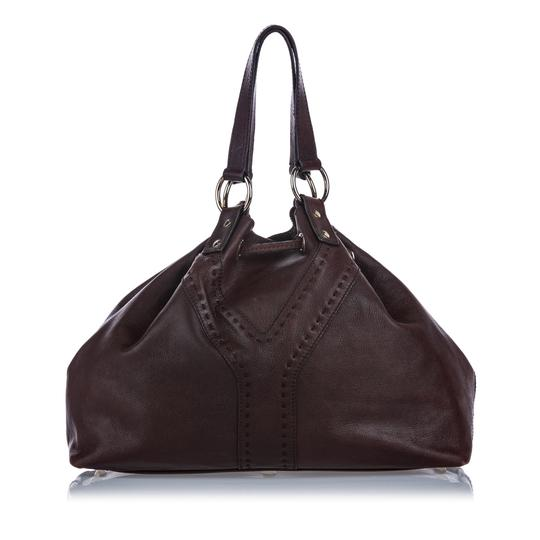 Saint Laurent 9gysto001 Vintage Ysl Leather Tote in Brown Image 2