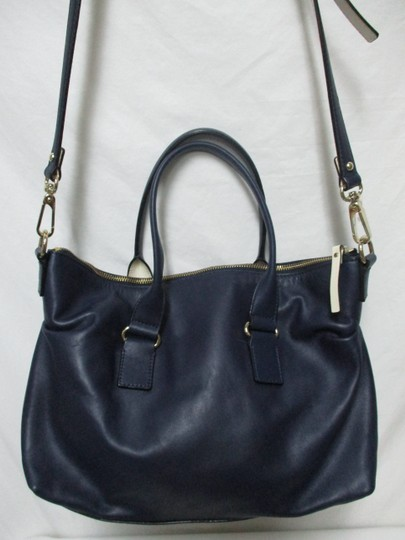 Kate Spade Purse Navy Leather Satchel in blue & white Image 1