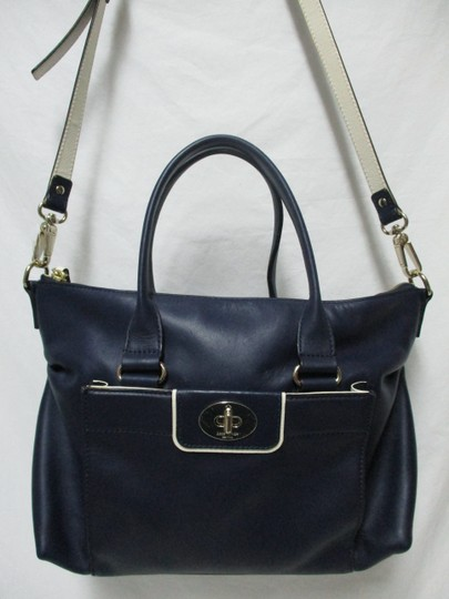 Kate Spade Purse Navy Leather Satchel in blue & white Image 10