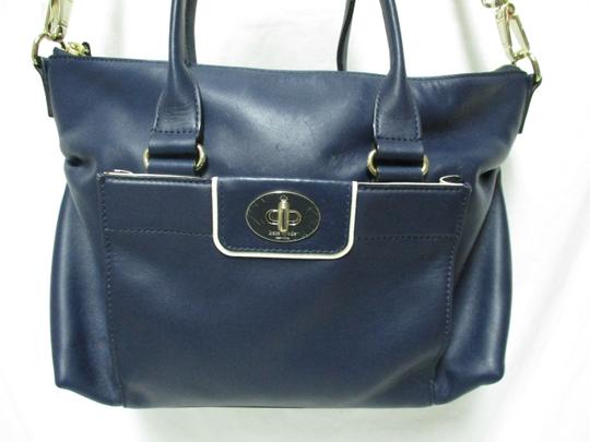 Kate Spade Purse Navy Leather Satchel in blue & white Image 2