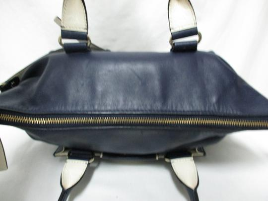 Kate Spade Purse Navy Leather Satchel in blue & white Image 3
