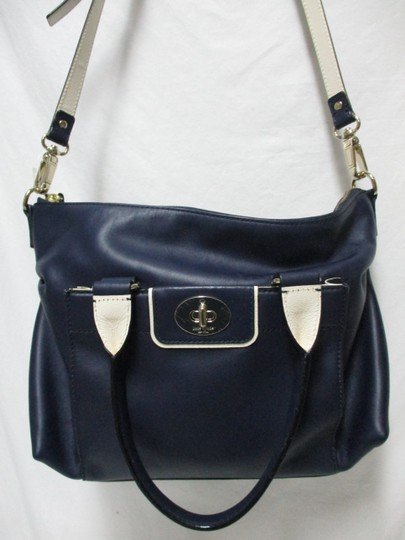 Kate Spade Purse Navy Leather Satchel in blue & white Image 5