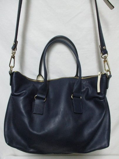 Kate Spade Purse Navy Leather Satchel in blue & white Image 6