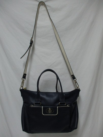 Kate Spade Purse Navy Leather Satchel in blue & white Image 7