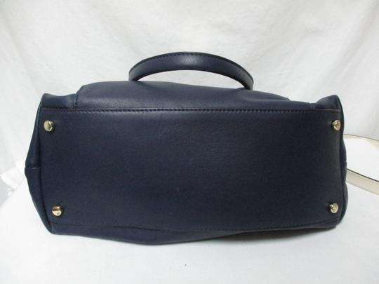 Kate Spade Purse Navy Leather Satchel in blue & white Image 8
