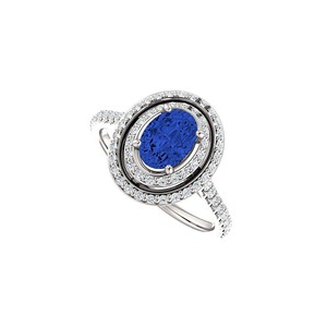 Marco B Oval Sapphire With Round Cubic Zirconia Halo Engagement Ring
