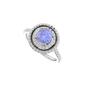 Marco B Halo Engagement Rings with Tanzanite CZ in Double Halo 14K White Gold
