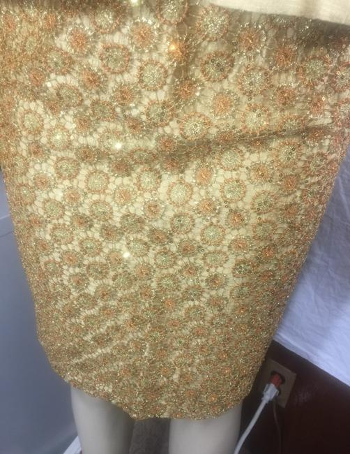 Kay Unger luxury gold Lamae and glitter sequin skirt suit Image 2