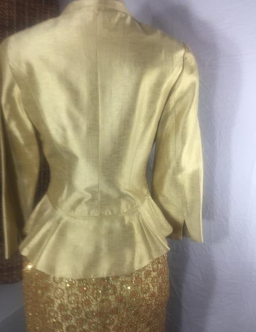 Kay Unger luxury gold Lamae and glitter sequin skirt suit Image 5