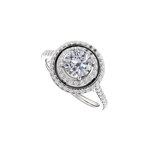 Marco B Halo Engagement Rings with CZ Double Halo in 14K White Gold 1.75 CT TG