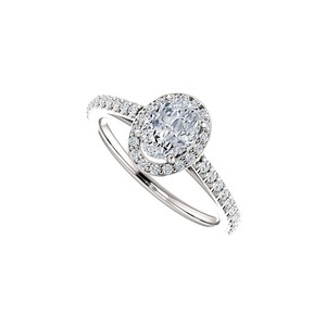 Marco B Oval Halo Engagement Rings with CZ in 14K White Gold 1.50 CT TGW