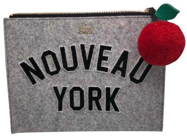 Item - Clutch Nouveau York Medium Bella Pouch Light Charcoal Italian Felt/Leather Trim/Fabric Grey Felt Wristlet