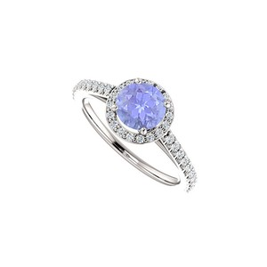 Marco B Halo Engagement Rings with Tanzanite CZ in 14K White Gold 1.50 CT TGW