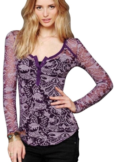 Preload https://img-static.tradesy.com/item/26039900/free-people-floral-burnout-henley-tee-shirt-size-2-xs-0-2-650-650.jpg
