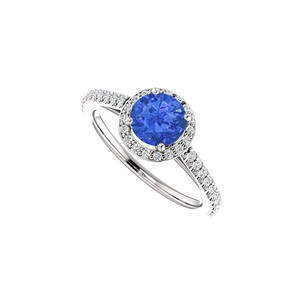 Marco B Halo Engagement Rings with Sapphire CZ in 14K White Gold 1.50 CT TGW