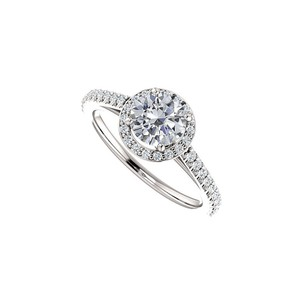 Marco B Halo Engagement Rings with CZ in 14K White Gold 1.50 CT TGW