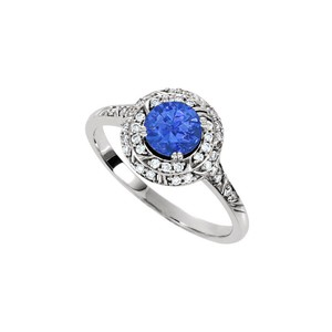 Marco B Halo Engagement Rings with Sapphire CZ in Double Halo 14K White Gold 1