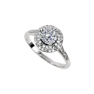 Marco B Halo Engagement Rings with CZ in Double Halo 14K White Gold 1.75 CT TG
