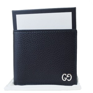 Gucci GUCCI GG Long Bifold Wallet Purse Leather Black Made In Italy