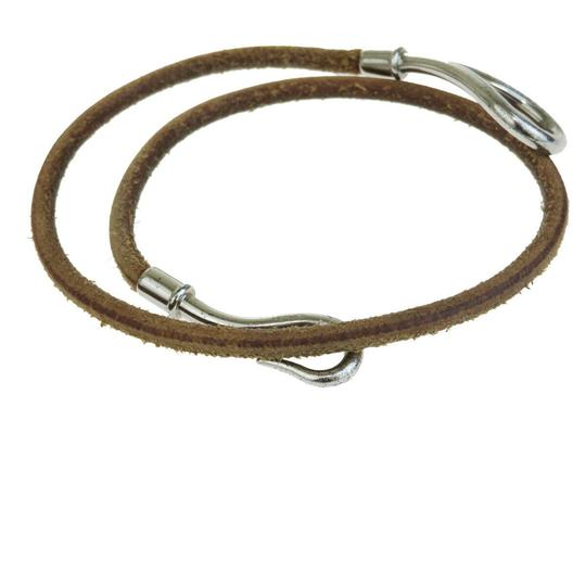 Hermès Brown Silver Jumbo Hook Double Wrap Bangle Leather Plated Bracelet Image 1