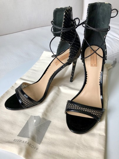 Reed Krakoff Python Ankle Tie & Stiletto Sexy Black and White Sandals Image 3