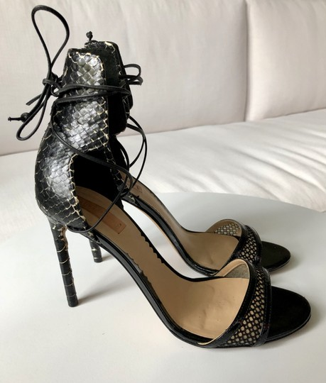 Reed Krakoff Python Ankle Tie & Stiletto Sexy Black and White Sandals Image 4