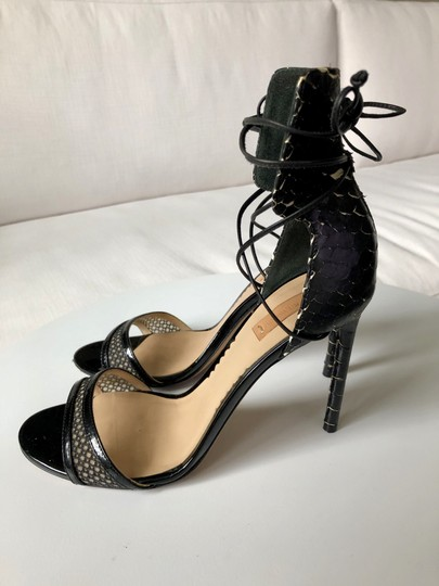 Reed Krakoff Python Ankle Tie & Stiletto Sexy Black and White Sandals Image 6