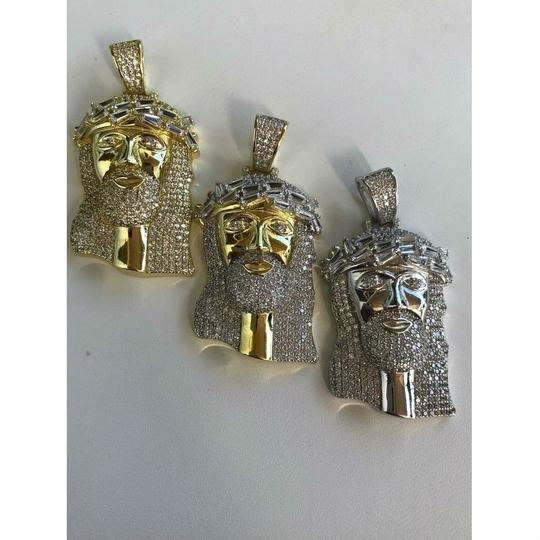 Harlembling Harlembling Solid 925 Silver Icy 2ct Diamond Jesus Piece Pendant Image 2